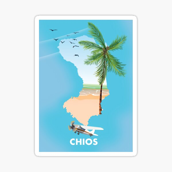 Chios Greece Travel map poster Sticker