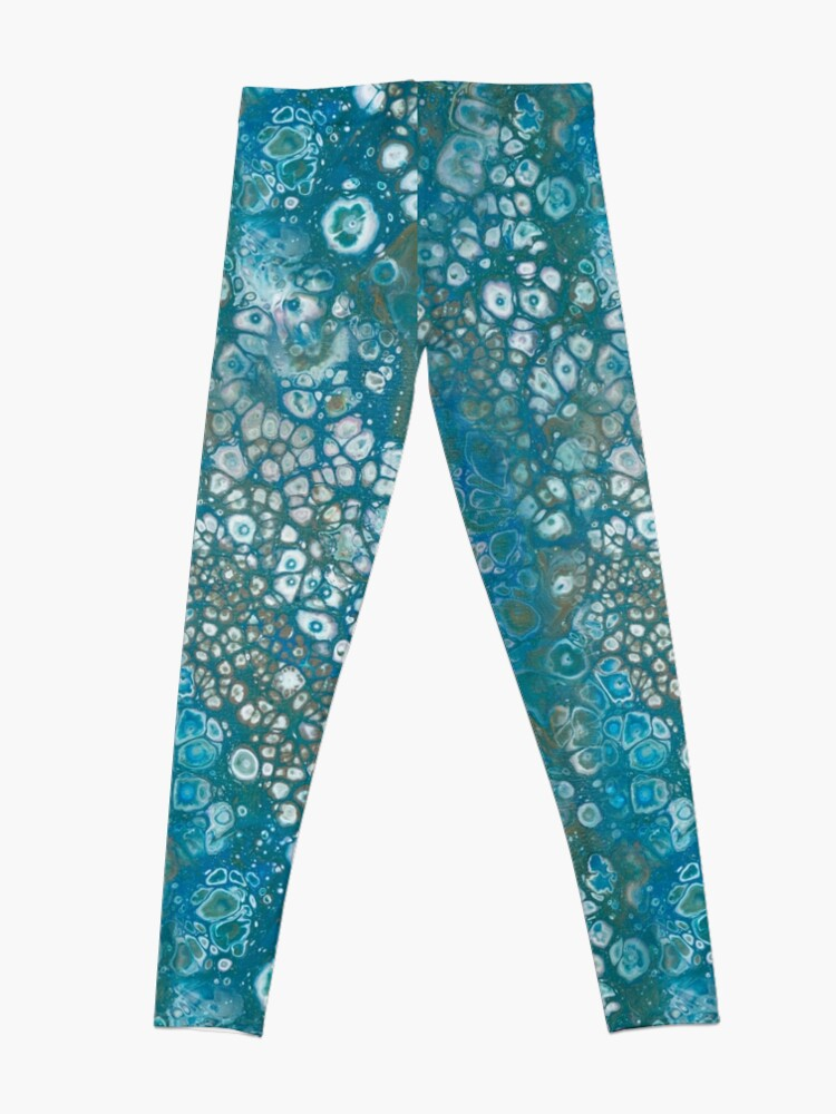 Alternate view of Fluid painting emerald lake with green cells Leggings