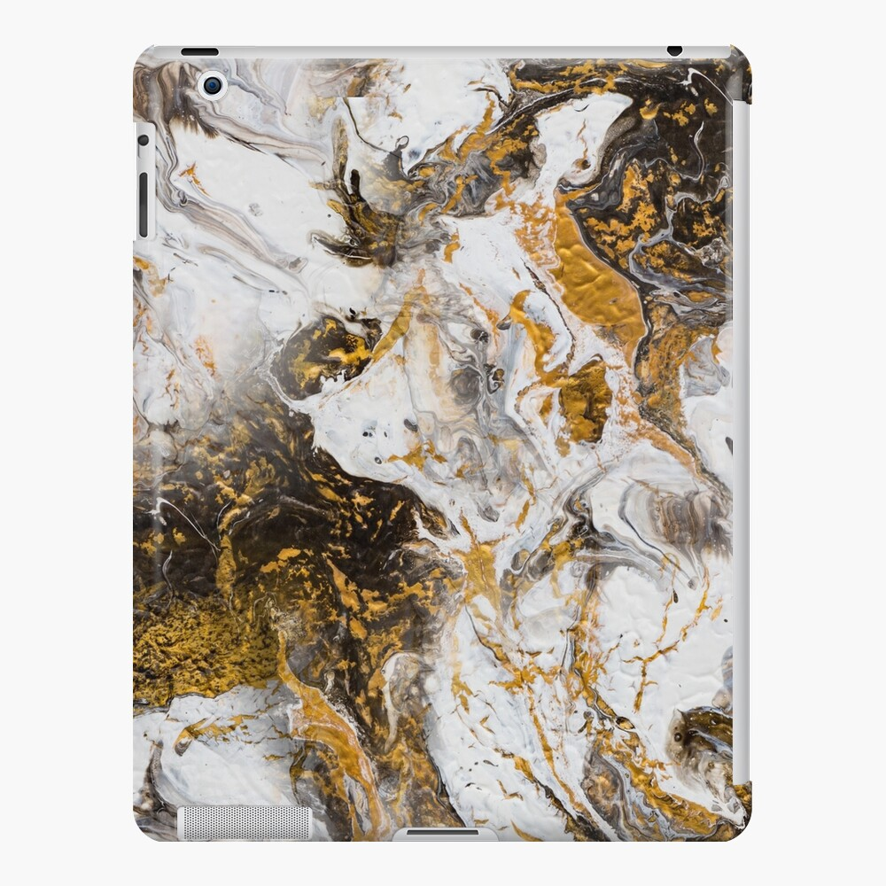 Fluid painting marble pouring image in gold and black and white iPad Case & Skin