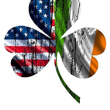 USA & Irish Flag Shamrock by CasualMood