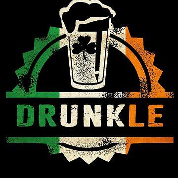 Irish Drunkle Drunk Uncle Beer Irish Flag Colors Distressed retro Vintage Look by funnytshirtemp