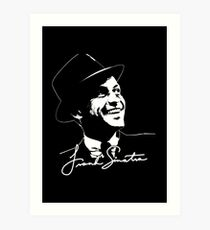 Frank Sinatra - Portrait and signature Art Print
