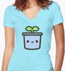Camiseta entallada de cuello en V Lindo brote en maceta