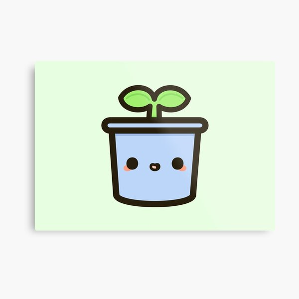 Cute sprout in pot Metal Print