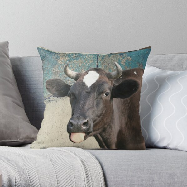 Cow Print Funny Cows Tongue Distressed Farm Gift for Cow Lovers Throw Pillow