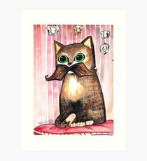 Mr. Whiskers: Moustache Cat Art Print