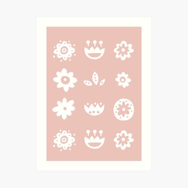 Pink Scandinavian Flowers Art Print
