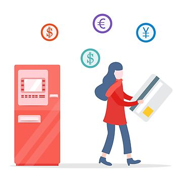 Girl goes from ATM with bank card Personal finance by aquamarine-p