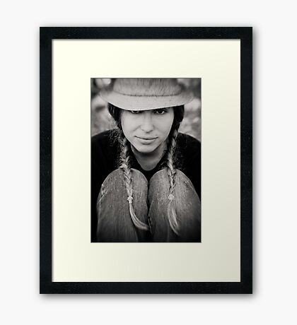 hat and pigtails Framed Print