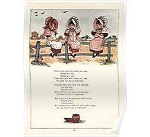 Under the Window Pictures and Rhymes for Children Edmund Evans and Kate Greenaway 1878 0066 Three Girls on a Fence Rail Poster