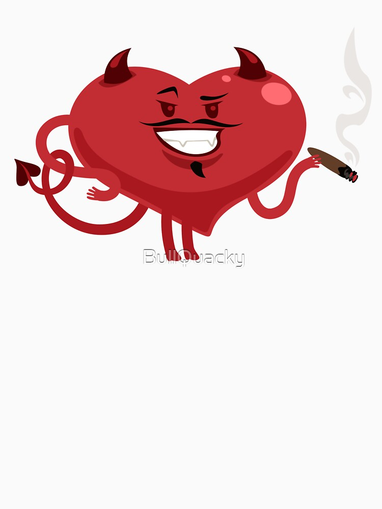 Red Heart Devil Horn Smoking Cigar  - Cute Evil Valentines Day Cartoon Drawing Holiday Design by BullQuacky