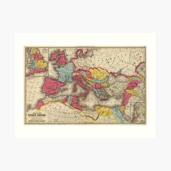 Vintage Map of The Roman Empire (1875) Art Print