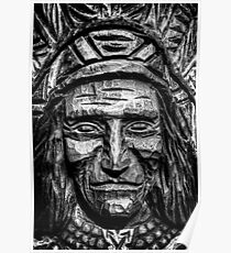 African American and Caucasion Wooden Native American Poster
