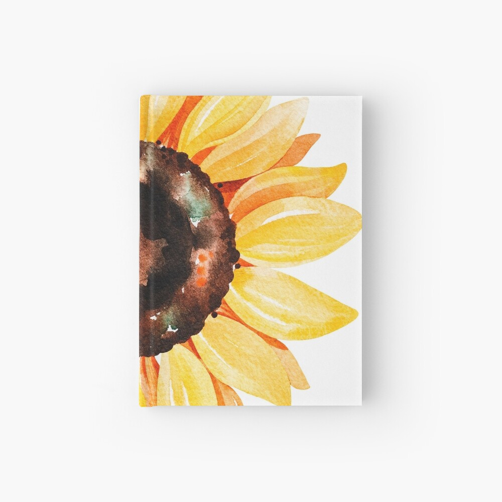 Watercolor sunflower Hardcover Journal