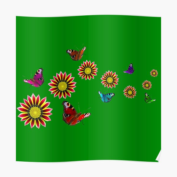 Blumen und Schmetterlinge im Frühling Poster