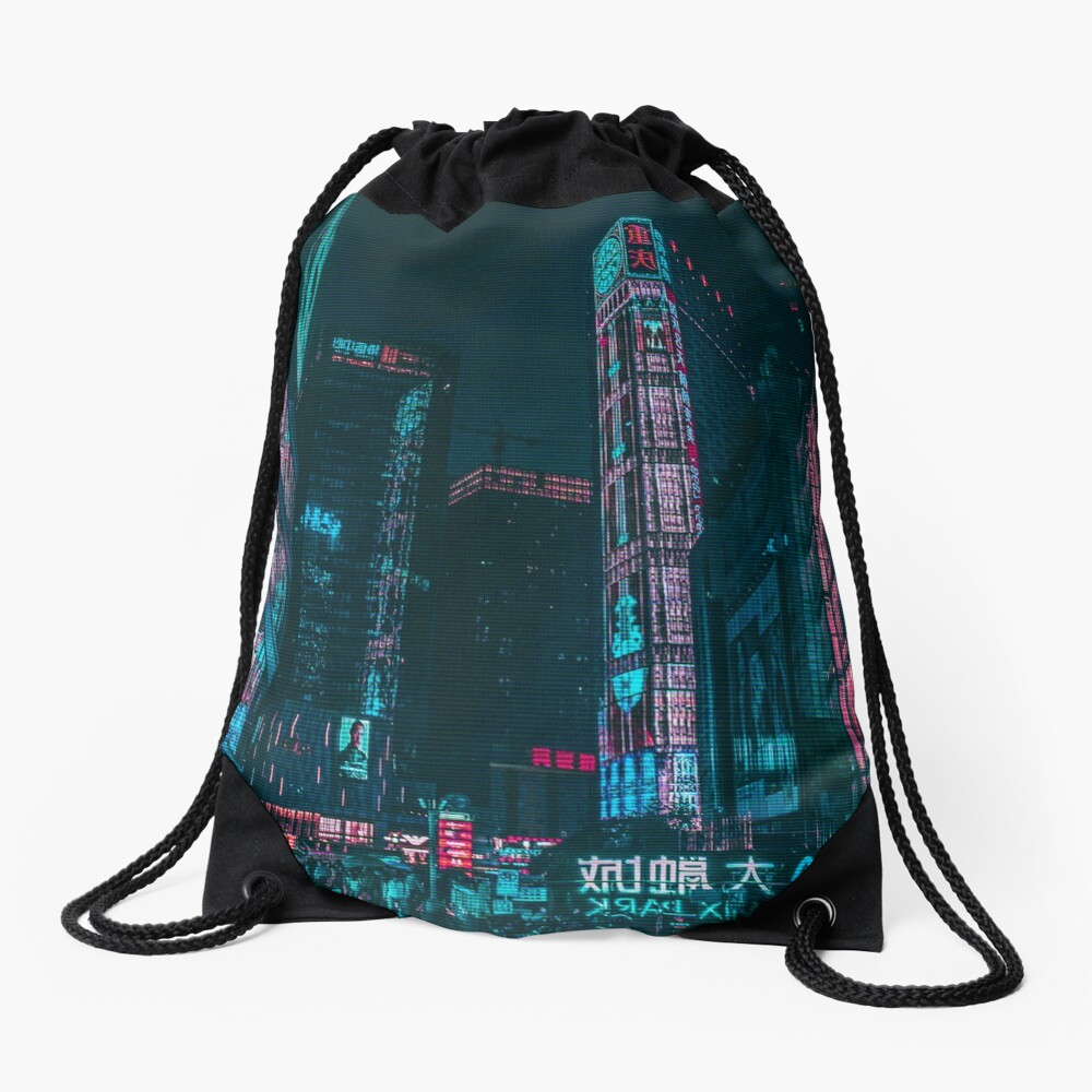Shadowrun Neon City Nights, Cyberpunk Drawstring Bag