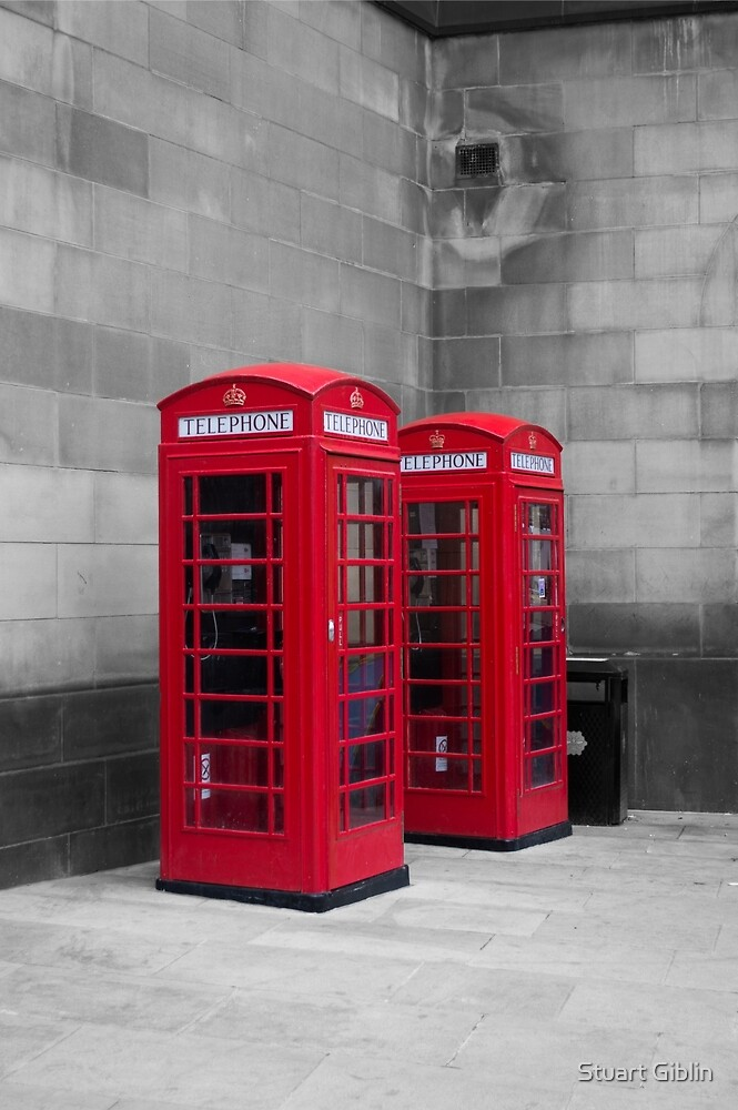 Two Traditional Red Telephone Boxes by Stuart Giblin