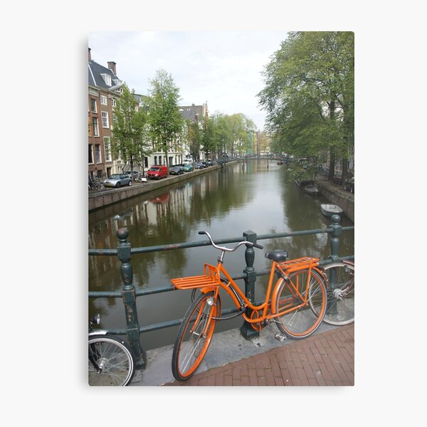Amsterdam Bicycles and Canals Metal Print