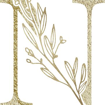 Letter N Alphabet Initial Monogram Gold Floral by Bunnyfuncake
