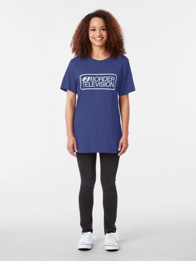 Alternate view of Retro ITV region Border television logo  Slim Fit T-Shirt
