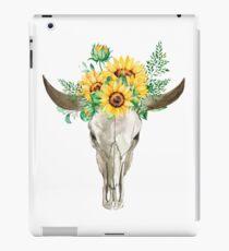 Sonnenblumenstrauß, Stierschädel, Sonnenblumenschädel, Sonnenblumen, Aquarell, gemalte Sonnenblumen iPad-Hülle & Klebefolie