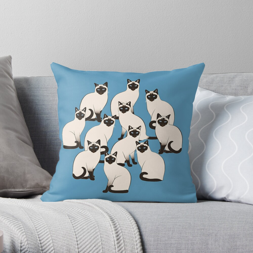 Siamese Cats Circle Throw Pillow