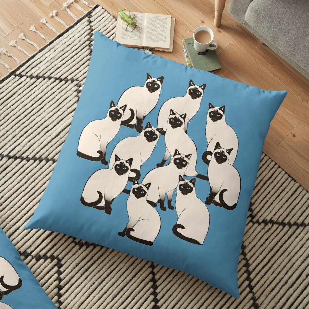 Siamese Cats Circle Floor Pillow