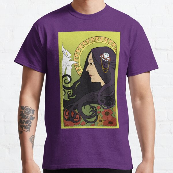 Joan Baez - Alphonse Mucha Floral Art Nouveau Drawing Classic T-Shirt