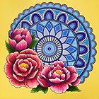 Blue mandala with peonies by kintija