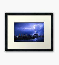 Brisbane City Lightning Strike Framed Print