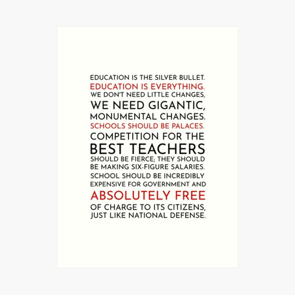 Sam Seaborn Education Speech - The West Wing Art Print