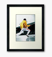 Fredddie Mercury Rock Concert Yellow Framed Print