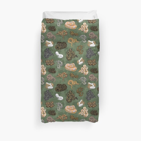 Ball Python Morphs Pattern Moss Green Duvet Cover
