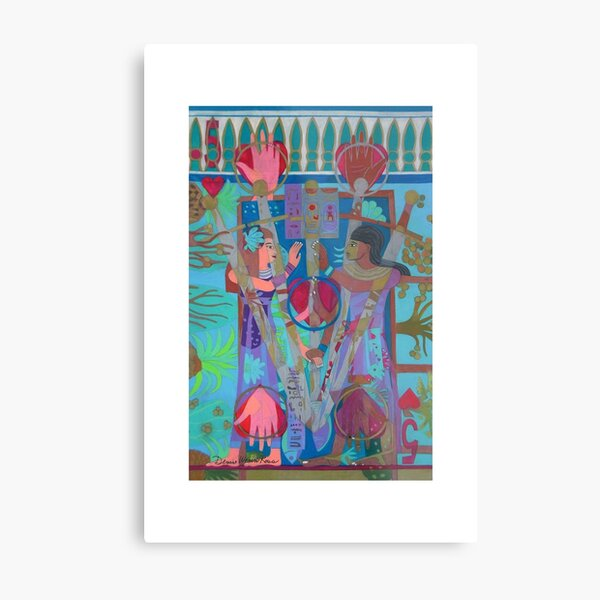 Five of Ringing Hearts Giclee Print with Borders Metal Print