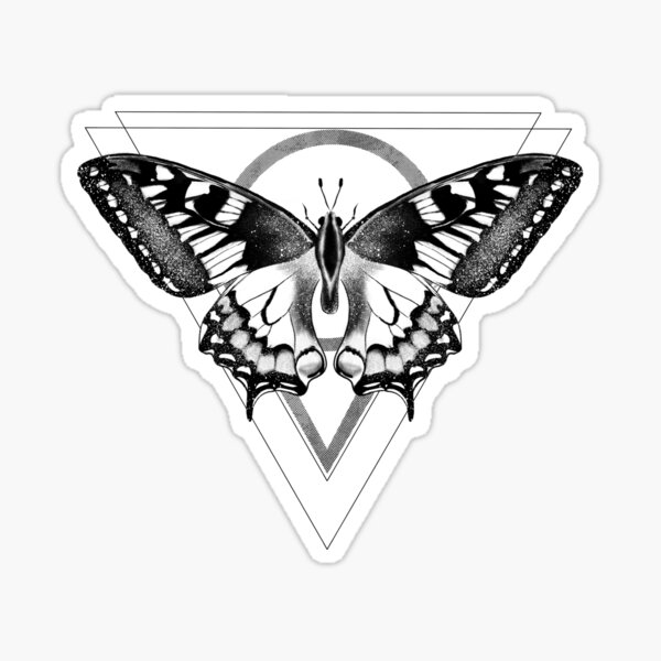 Butterfly with black geometric designs  Sticker