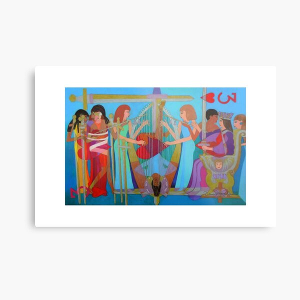 Three of Hearts Divided giclee with border Metal Print