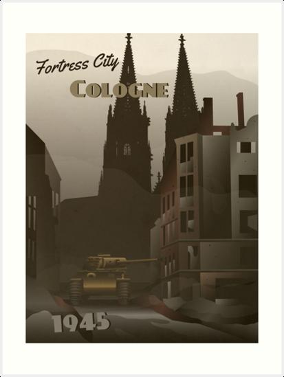 Köln 1945 - Panzerduelles Reiseplakat von Grayhanch