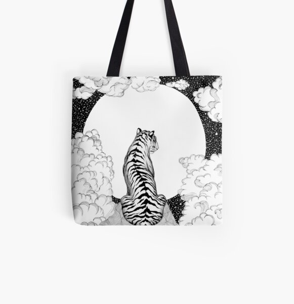 Tiger Moon All Over Print Tote Bag