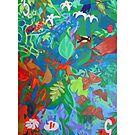 Five of Sacred Trees giclee with borders by Denise Weaver Ross