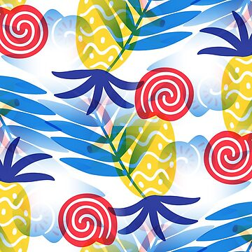 Pineapple & Palms Summer Vibe Pattern by webgrrl