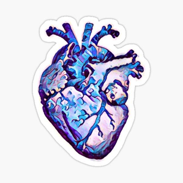 I'd Rather be Blue Anatomical Heart Sticker