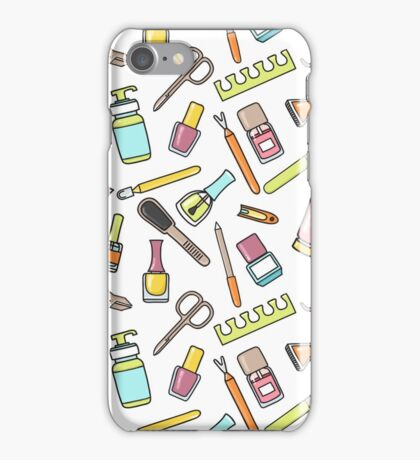 Pattern of manicure and pedicure doodle equipment. Nail art iPhone Case/Skin