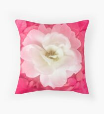 White Rose with Pink Leaves Around Throw Pillow