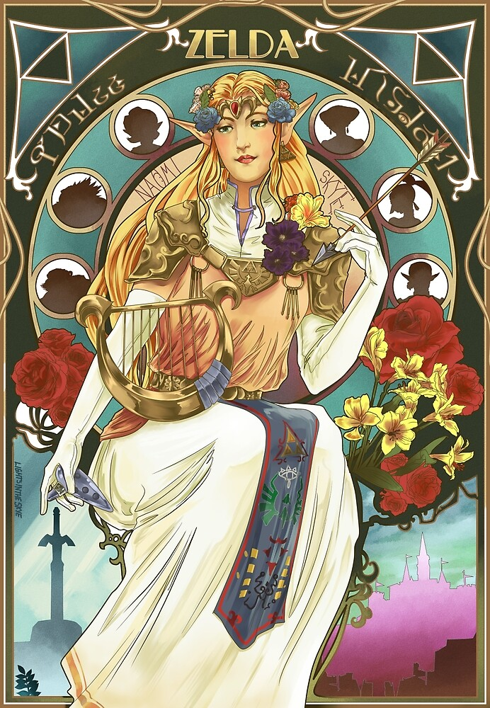 Art Nouveau Zelda Print by Lightsintheskye