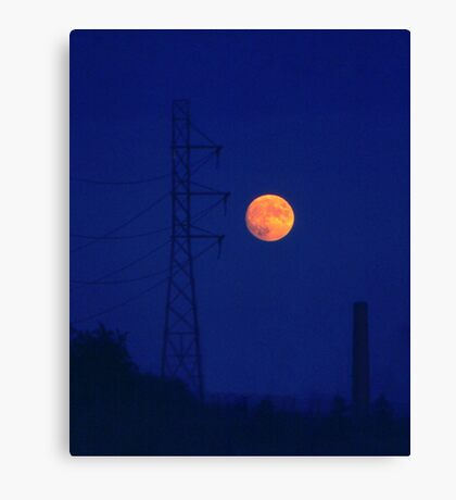 Moon and machines Canvas Print