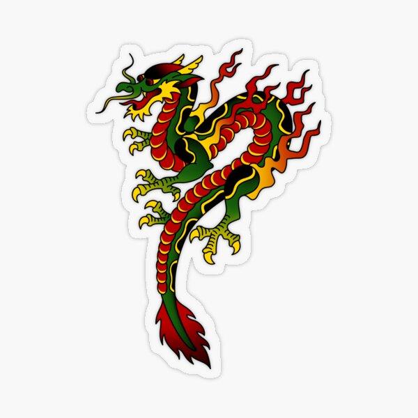 American Traditional Dragon Transparent Sticker