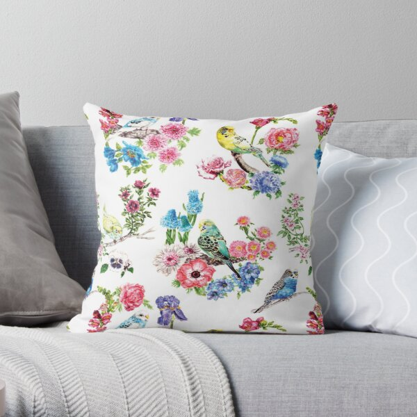 Watercolor Budgies and Flowers Throw Pillow