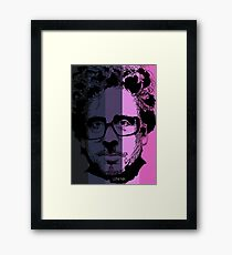 Tim Burton in stripy background! Framed Print