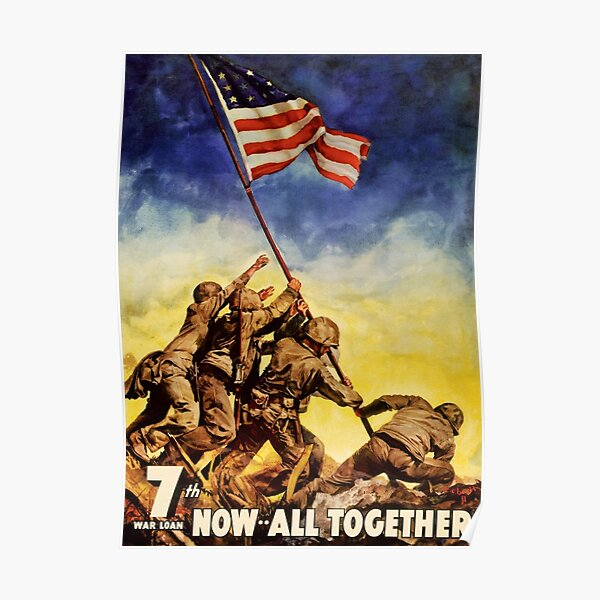 Now all together Vintage War Poster Restored Poster