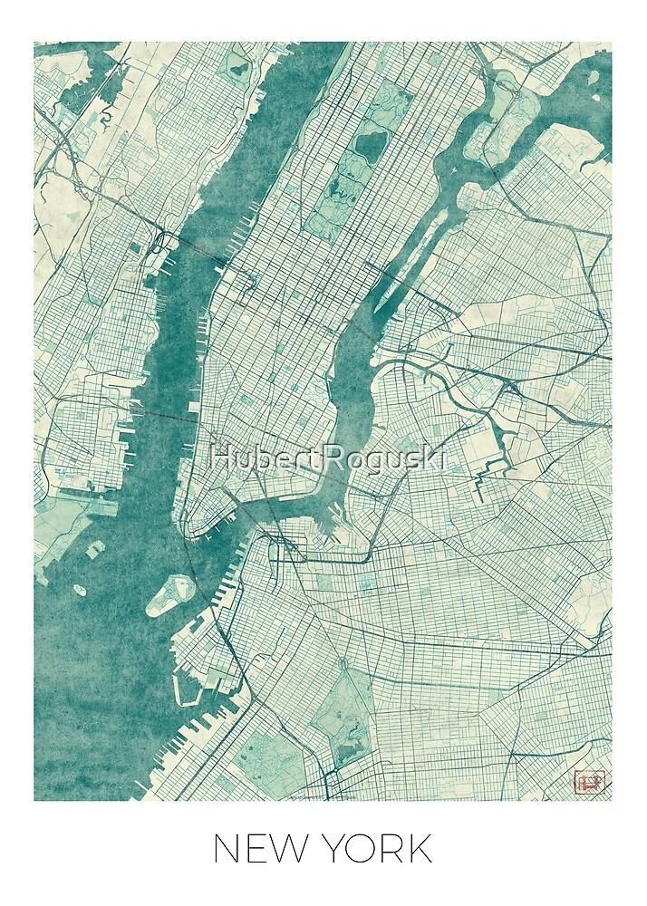 New York Map Blue Vintage by HubertRoguski